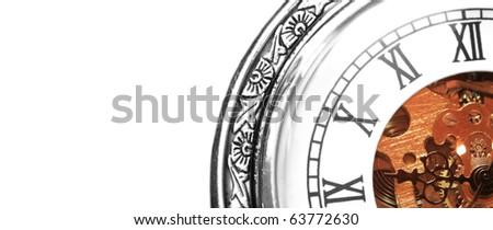 Old clock machine on white background