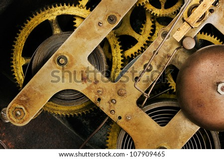 Old clock mechanism background