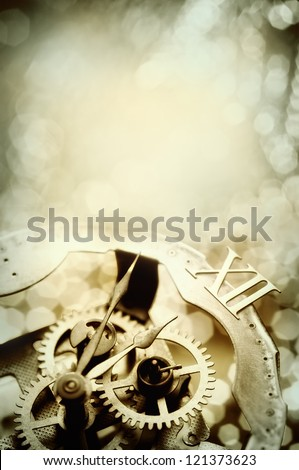 old clock showing midnight with copy space - stock photo