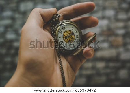 Old Clock Stock Photo. Gold Old Clock. Old Clock on Castle Backgrounds. #655378492