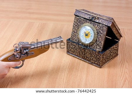 Old clock with a person holding a gun to it. Stressed by time