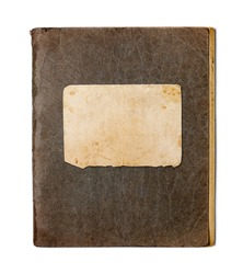 old closed copybook isolated on white