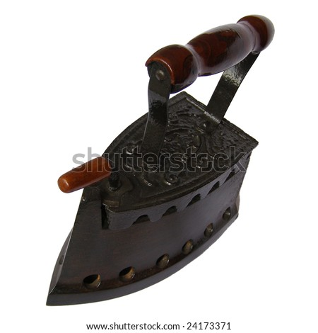 Old coal iron isolated over a white background