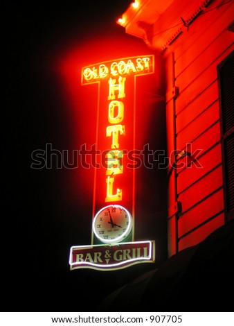 Old Coast Hotel neon sign, Fort Bragg, California