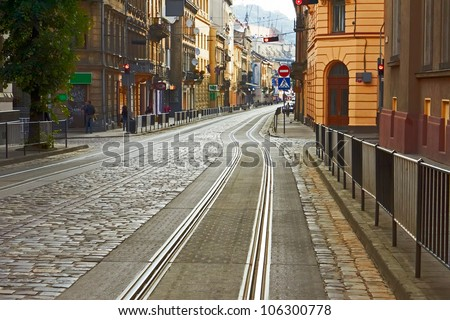 Old cobbled street with tram tracks in the downtown of Lviv, Ukraine