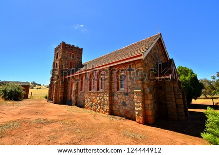 Old cobblestone church in Australian outback town.