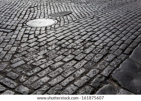 old cobblestone street from new ...