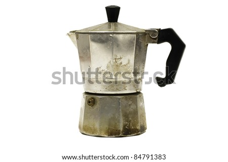 Old Coffee Cooker Isolated On White