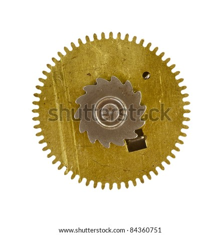 old cogwheel - gear - on white background