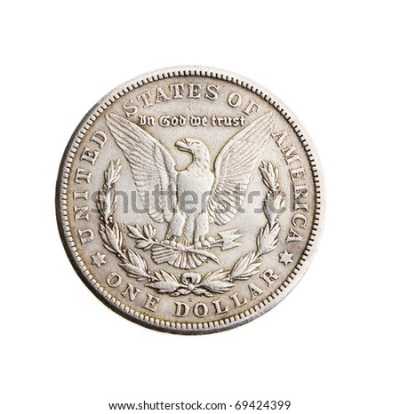 Old coin in one silver dollar (on a white background)
