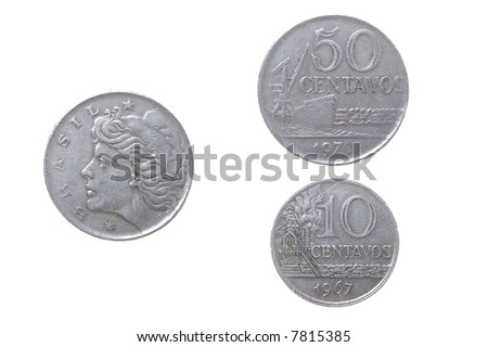 Old coins to Brasilia,set of coins from different countries isolated on a white background