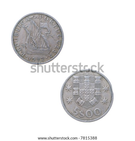Old coins to Portugals.set of coins from different countries isolated on a white background