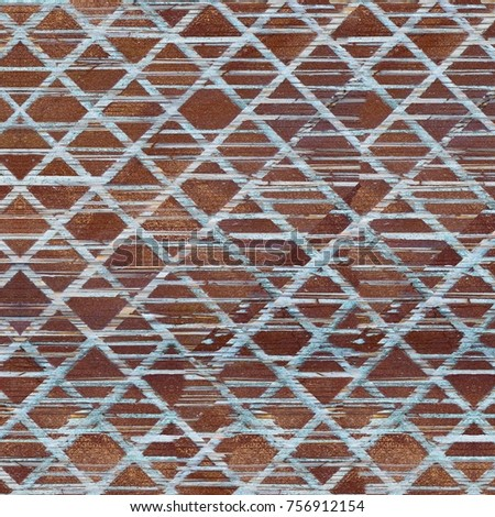 Old Color Grunge Vintage Weathered Background. Abstract Messy Antique Texture With Retro Pattern. Modern Futuristic Painted Wall For Backdrop, Wallpaper, Banner With Copy Space. Close Up Square Image #756912154