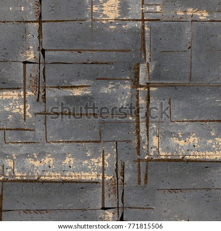 Old Color Grunge Vintage Weathered Background. Abstract Messy Antique Texture With Retro Pattern. Modern Futuristic Painted Wall For Backdrop, Wallpaper, Banner With Copy Space. Close Up Square Image #771815506