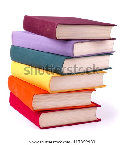 Shutterstock Old colorful books isolated on white background