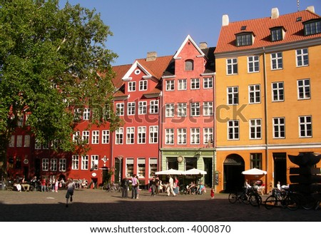 Old colorful houses on a famous square in Copenhagen