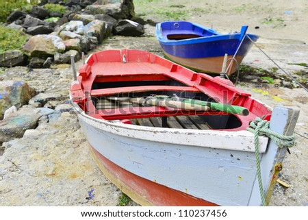 old colorful rowing boat for background