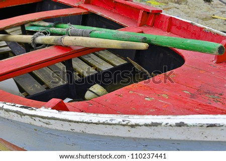 old colorful rowing boat in Spain for background