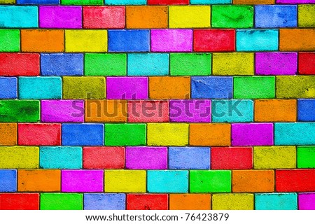 old colourful brick wall, motley background