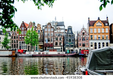 Old colourful buildings in Amsterdam
