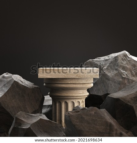 Old column with stones. Podium for display product on а black background. 3d illustration Сток-фото ©