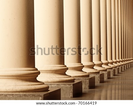 Old columns is ancient style. Realistic 3D illustration sepia toned