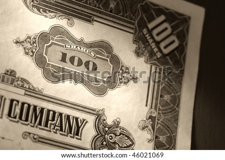 Old company stock market one hundred common shares certificate