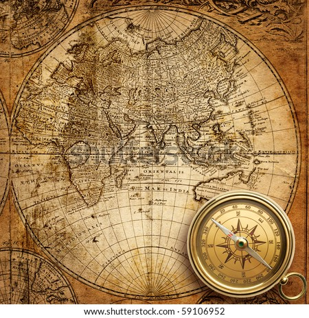 old compass and rope on vintage map 1746 - stock photo