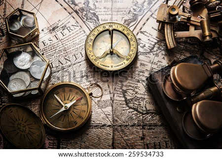 old compass  astrolabe on...