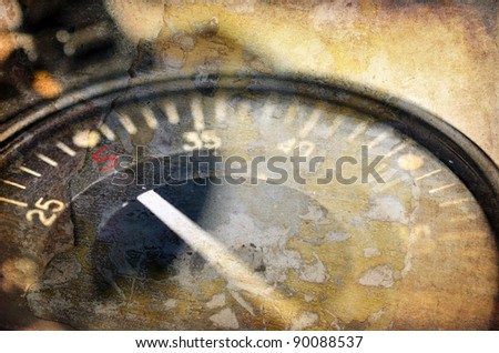 Old compass close up, retro illustration in grunge style