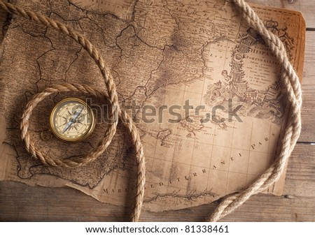 old compass on vintage map 1732 Spain and Portugal (author Ioh.Bapt.Homann) Nurenberg Germany