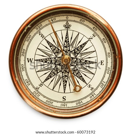 Old compass on white background