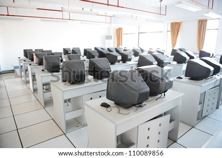 Old computer classroom in a Chinese middle school.