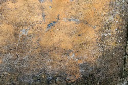 Old concrete corrosion wall with mold and fungus. Cracks and peeling. Antique Brown Abstract Background