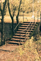 old concrete stairs in the park are covered with fallen leaves