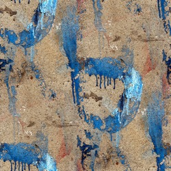 old concrete wall with streaks of blue paint seamless texture