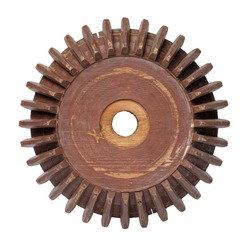 Old conical gearwheel, isolated on white background