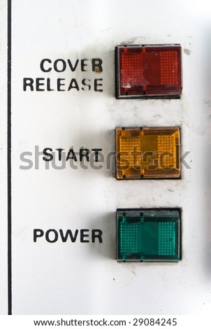 old control panel;  red yellow green button;