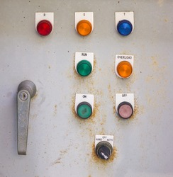Old control panel with  color buttons