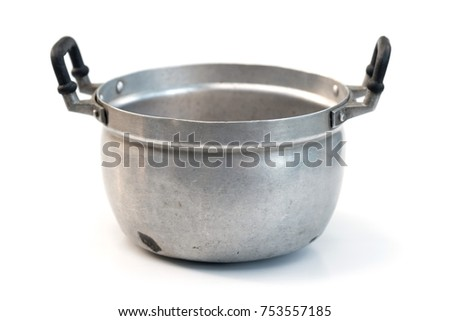 old cooking pot isolated on white background