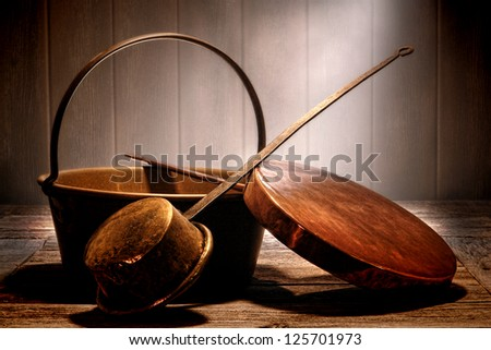 Old Copper And Brass Metal Pots And Pans Cooking Utensil