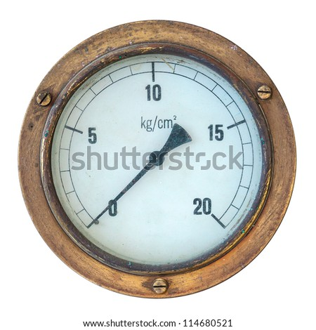 Old copper industry display meter isolated on white - stock photo
