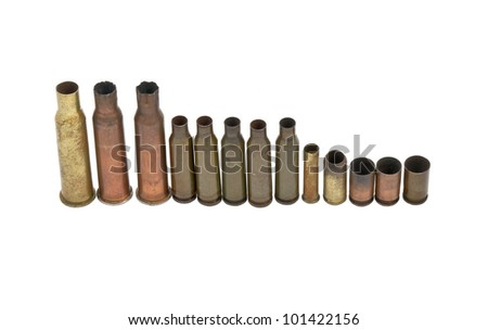 Old copper sleeves. Isolated on white background