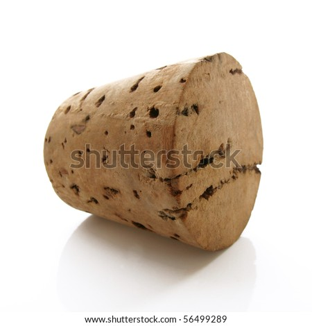 Old cork from a wine bottle on a white background
