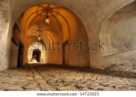 old corridor in castle Krumlov