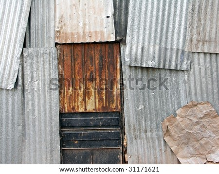 Corrugated Metal Fence Panel In Perspective. Royalty Free Stock