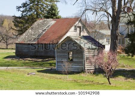 Old country barn on farmland