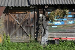 old country fun wooden barn in sunny summer day
