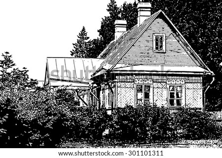 Old country house. Black and white illustration