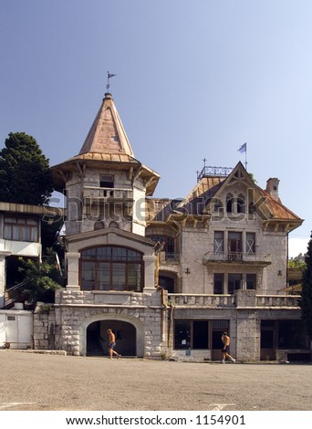 Old country house in seaside city.